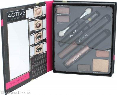 Active Cosmetics Glamour Day Look Make Up Set - 4 Eyeshadows + 1 Lip Gloss + 1 Highlight Powder + 1 Applicator + 1 Eyeliner + 1 Mascara