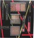 Active Cosmetics Glamour To Go Gavesett Eyeliner + 6.5ml Mascara + 4 x 2.5g Øyenskygger + 10g Bronzer + 2 x 6g Blusher + 6g Highlighter + 10.5ml Lipgloss + 3.3g Lip Crayon + Applikator